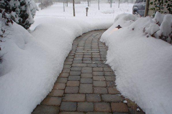 тротуарная плитка зима